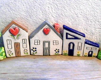 Ceramic cottages, window setter, houses, trees,window setter,country, cottage chic,collectible,ceramic cottages,ceramic houses and trees