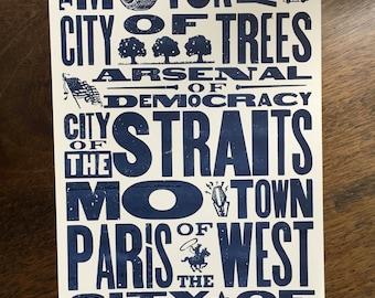 Detroit Nicknames Hand Silkscreened Art Print