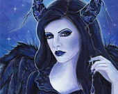 aceo print 2.5x3.5inches spooky eyes gothic angel By Renee