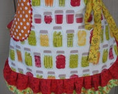 Womens Aprons - Apron for Canning - Farm Girl Canning Mason Jars Apron - Etsy Aprons - Annies Attic Aprons - Mason Jar Aprons - Waist Aprons