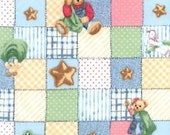 Fat Quarter Daisy Kingdom Blue Jean Teddy Blanket Bear Patch Allover Print Out of Print