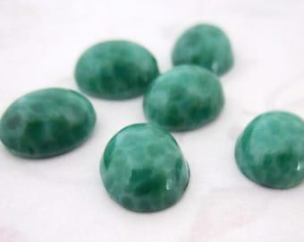 15 pcs. vintage glass jade mottled flat back cabochons 10x8mm - f1603