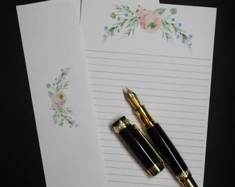 Delicate Floral, economy stationery set, social stationery, letter writing set, 5 x 7 flat letters, lined or unlined, snail mail, penpal