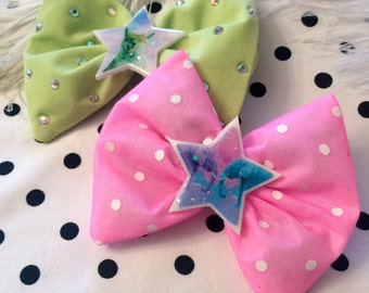 Chartreuse Rhinestone and Pink Polka Dot Fox and Elephant Glitter Resin Hair Bows