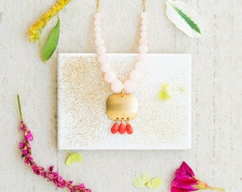 Pink and Brass Pendant Necklace, Boho Pendant Necklace, Mixed Gemstone Necklace