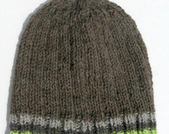 Knit Wool Hat for Men or Women, Wool Handmade Beanie