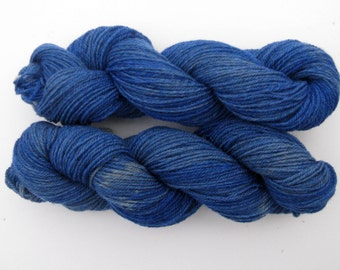 Hand dyed, Blue Sock Yarn, Corriedale Wool and Alpaca,  Farm Grown Yarn to Knit, Crochet, or Weave, 3 ply, 250 yards
