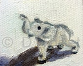Little Elephant - OOAK Original Miniature Oil Painting