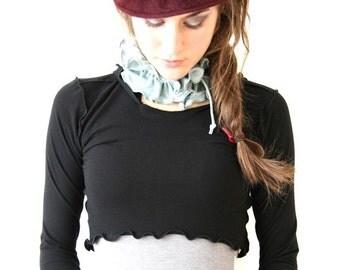 long sleeve HOODED SCOOP DEMI cropped top| women| clothing| shirt| half top| yoga shirt| hoody| shirt with hood| hand made| long sleeve
