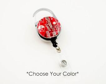 Recycled Circuit Board Retractable Badge Holder - Badge Reel - Geeky Office Gift - Engineer Gift