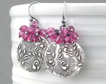 Flower Earrings Pink Crystal Earrings Pink Earrings Unique Gift for Her Crystal Cluster Earrings Silver Rose Jewelry Crystal Jewelry - Lily