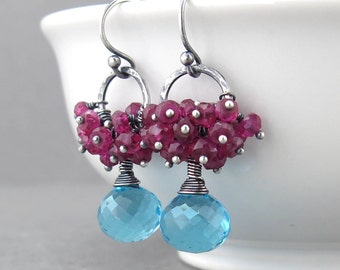 Swiss Blue Earrings Hot Pink Earrings Silver Dangle Earrings Cluster Earrings Modern Jewelry Unique Silver Jewelry Gift for Her - Beth