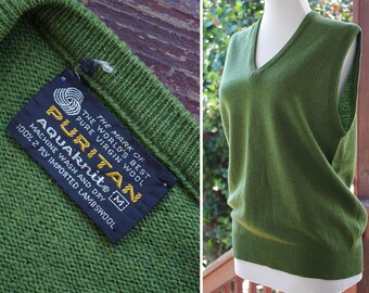 WOOL 1960's 70's Vintage Men's Dark Olive Pure Lambswool Knit V Neck Sweater Vest // size Medium // by PURITAN Aquaknit