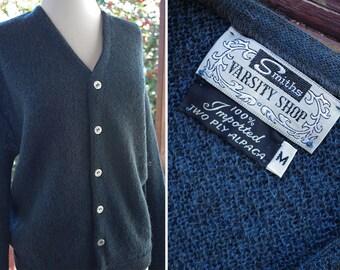 Mr. DRAPER 1950's 60's Vintage Men's Deep Navy Blue Button Down Pure ALPACA Wool Cardigan // SMITH'S Varsity Shop // size Medium