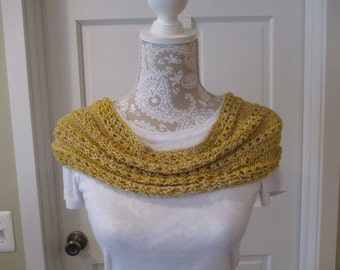 Hand knit cowl, spring summer cowl, silk yarn cowl, short infinity scarf, a patterned cowl in light mustard. Hand crafted