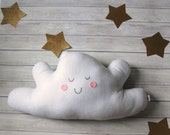Happy Cloud Pillow Kids Room Decor Cloud Plushie Modern Nursery Decor