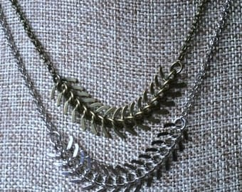 SUMMER SALE Spine Chain Necklace in Your Choice of Bronze or Silver / Fishbone Necklace / Mens Necklace / Mens Jewelry