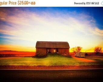 Summer Sale - Good Morning - sunrise landscape photography - colorful rural photo - Wisconsin Barn
