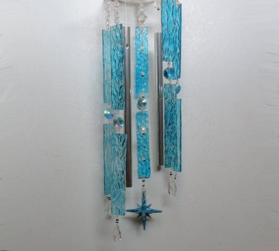 "Stained Glass Sculpture, Wind Chime, Mobile, Home Decor, Wall Hanging, Window Hanging, Celestial, Teal, Stars, Ornament, Sky, ""Star Gazing"""