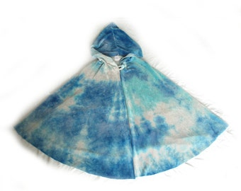 Velour Hooded Cape, IN STOCK, Blue Cape, Organic Children's Gift, Tie Dyed Cape, Fairy Cape, size Medium