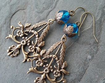 Blue Czech Filigree Earrings, Bohemian Blue Glass Drop Earrings, Brass Earrings, Vintage Inspired Jewellery, Boho chic, Filigree Earrings
