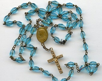 Vintage French Rosary Turquoise Beads and Gold Filled Cross Its a good one FRANCE Beautiful 2013