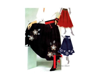 Misses Folkloric Flared Skirt Attached Petticoat McCalls 5238 Sewing Pattern Full Figure Size 14 - 16 - 18 - 20 - 22 UNCUT