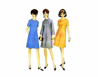 1960s Bell Sleeve Aline Dress McCalls 9268 Vintage Sewing Pattern Full Figure Half Size 22 1/2 Bust 45 Uncut