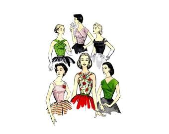 1950s Crisscross Straps Surplice Evening Blouse Advance 8001 Vintage Sewing Pattern Size 12 Bust 30