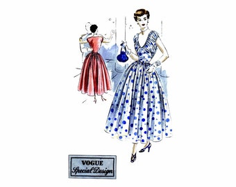 Vintage 1940s Midriff Full Skirt Evening Dress Pattern Vogue S-4996 Special Design Vintage Sewing Pattern Size 14 Bust 32