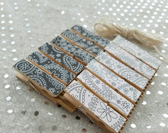 Wedding Black and White Paisley w Twine for Photo Display - Chunky Little Clothespin Clips Set of 12