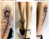 Sale/15%Off/EndsSep30/ Sexy PEACOCK FEATHER TATTOO gorgeous thigh-high socks Ultra Pale