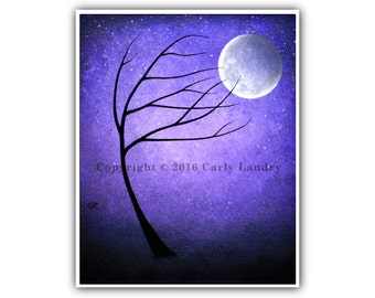 Tree & Full Moon Art Print - Twilight Moon - Minimalist Modern Dark Contemporary Fine Artwork Bold Style Size Options 8x10 11x14 16x20 20x24