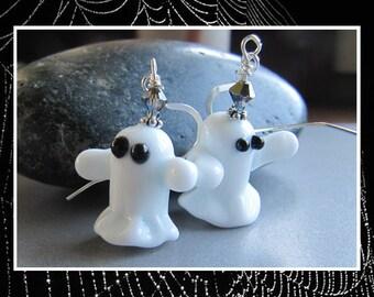 Lampwork Singing Ghost Halloween Earrings EHAG by Cornerstoregoddess
