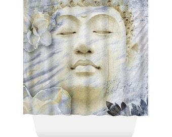 Buddha Shower Curtain -Blue and Tan Buddhist Bath Curtain - Zen Bathroom Decor - Inner Infinity by artist Christopher Beikmann