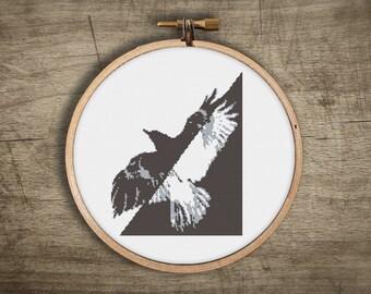 modern bird cross stitch pattern ++ urban retro black raven ++ pdf INsTAnT DOwNLoAD + diy hipster ++ handmade design