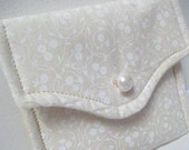 Quilted Little Case, Rosary Case, Card Case, Pouch, Gift case, white, cream, organizer, wedding bridal rosary, First Communion