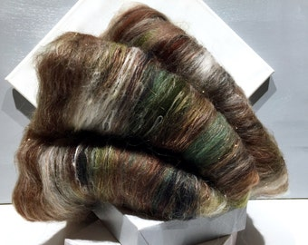 fiber art batt for felting or spinning, FAWN, amber brown, white, dark brown, Sage green, olive, black