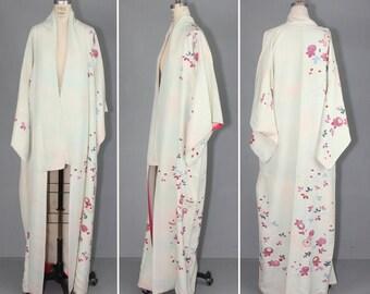 vintage kimono / silk robe / LITHE WATERCOLOR floral dressing gown