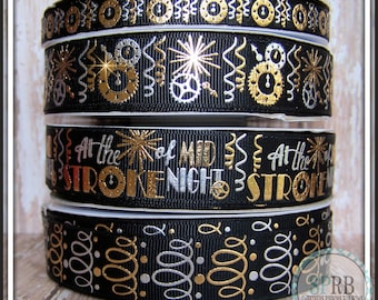 "SPRB 7/8"" New Years/Cinderella At the Stroke of Midnight grosgrain ribbon-Silver Foil-on BLACK-Steampunk-Clocks-Streamers-You choose print"