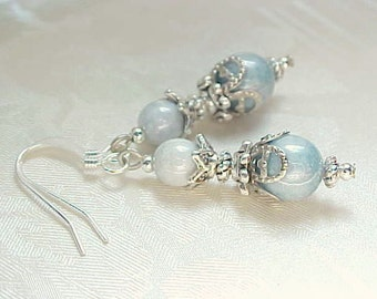 Aquamarine Blue Earrings Aquamarine Earrings Sky Blue Earrings Powder Blue Earrings Ice Blue Earrings Blue Silver Filigree Earrings Czech