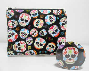 Candy Skulls Coin Purse / Black Day of the Dead Black Change Purse with Pocket Mirror Padded Zipper Pouch