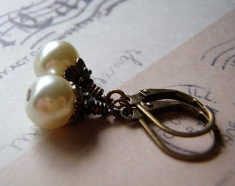 Pearl Earrings Antique Brass Lever Back Ear wire 8 mm Antique White Glass Pearl Dangle Gift Boxed Lifetime Guarantee