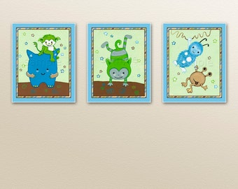 "Set of three 8x10"" Silly Monster Nursery Art Prints. Made to Match Monster crib bedding"