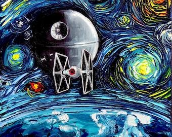 Star Wars Art - Starry Night CANVAS print van Gogh Never Saw The Empire by Aja 8x8, 10x10, 12x12, 16x16, 20x20, 24x24, 30x30 inches choose