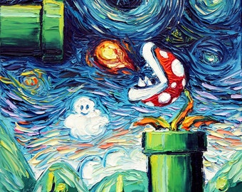 Nintendo Super Mario Art - Video Game Art CANVAS print van Gogh Never Leveled Up Aja 8x8, 10x10, 12x12, 16x16, 20x20, 24x24, 30x30 choose