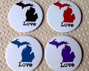 YOU CHOOSE Color State of Michigan 3.5 Inch Button Coasters Set of 4