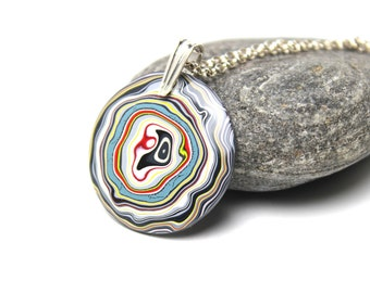 Detroit Fordite Necklace Recycled Vintage Auto Paint White Yellow Cherry Red Metallic Silver Medallion Sterling Round Swirl Black Faux Bois