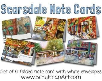stationary note cards | street scene art | blank Note Card Set | Scarsdale scenes