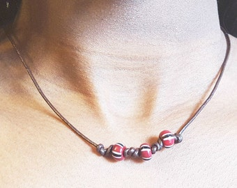 Knotted African Bead Necklace, Brown Cord, Him or Her
